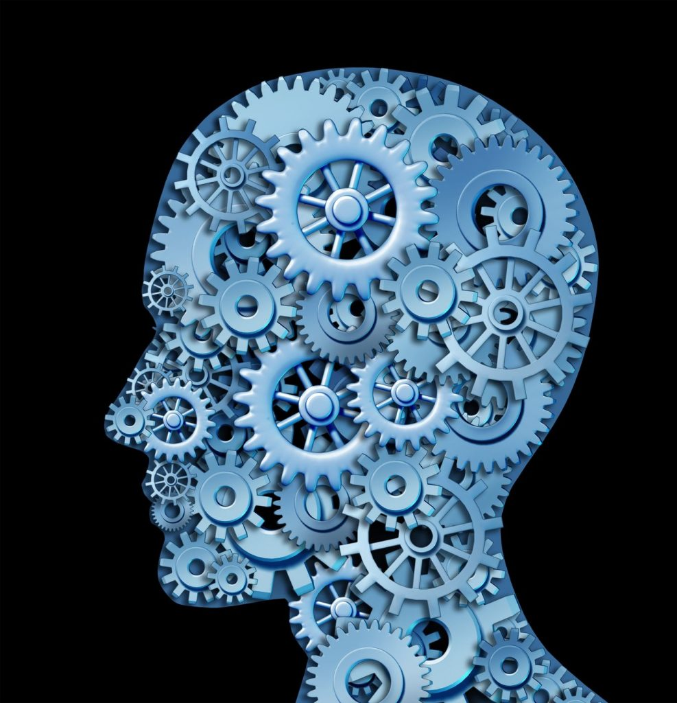 image of a human head full of cogs turning
