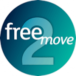 "The Free2move logo is a teal sphere with ""free"" and ""move"" in lower case white over a big inlaid number 2"