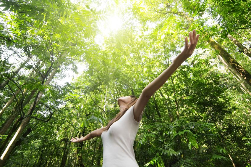 A woman with arms out wide in the forest looking up at the sun