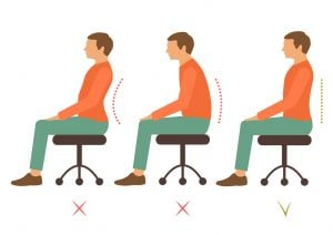three diagrams of a man sitting on a chair, the first 2 are bad posture the last is goog posture