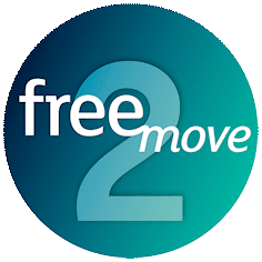 teak sphere with the text free2move inside