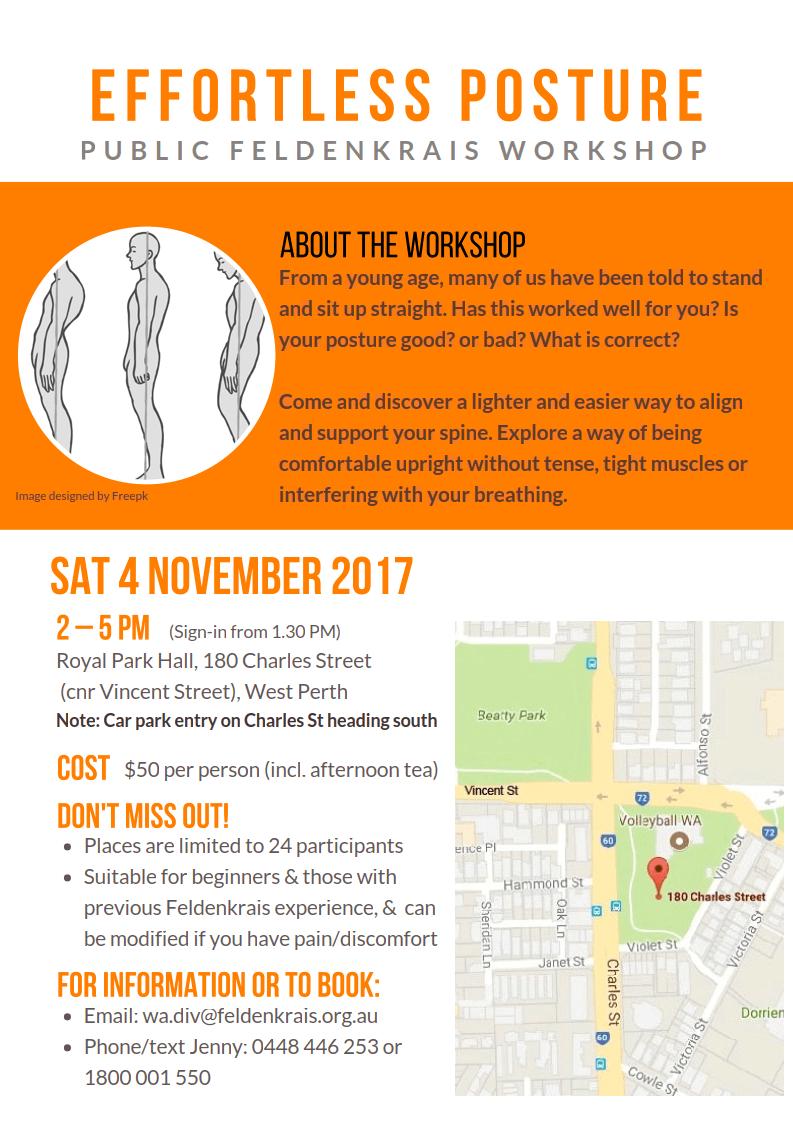 flyer image of the Australian Feldenkrais Guild 2017 Effortless Posture Workshop