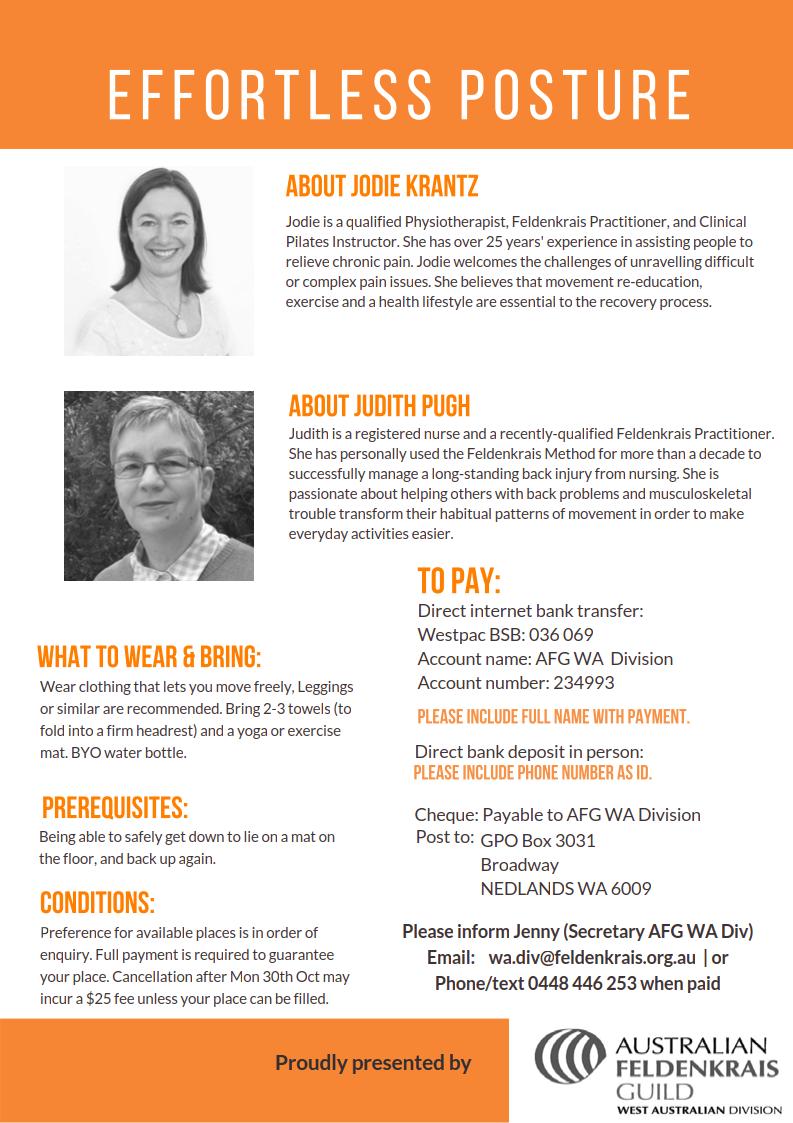 flyer image of the Australian Feldenkrais Guild 2017 Effortless Posture Workshop page 2